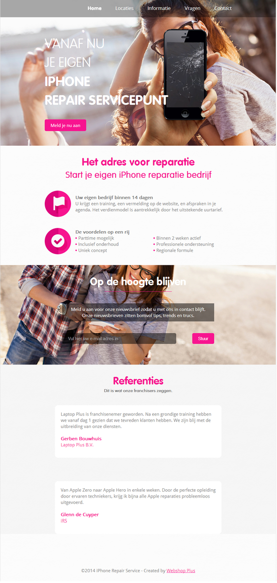 Homepage voor tablet